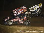 Jeremy Schultz (#5) racing with Bill Balog (#17) Saturday at Wilmot Raceway. (Mark Funderburk Photo)
