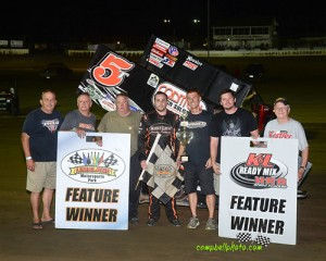 Travis Philo won the NRA Sprint Invader feature at Limaland Motorsports Park. (Mike Campbell Photo/campbellphoto.com)