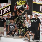 Kraig Kinser with his family and crew following his victory during the SPEED SPORT World Challenge. (Mark Funderburk Photo)