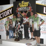 Tim Kaeding with the Lunstra Racing team following their victory Thursday night at Knoxville Raceway. (Mark Funderburk Photo)