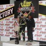Kraig Kinser after winning the SPEED SPORT World Challenge Friday night at Knoxville Raceway. (Mark Funderburk Photo)