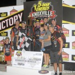 Jason Johnson with his crew in victory lane following his victory on Saturday during the 2016 5-hour ENERGY Knoxville Nationals. (Mark Funderburk Photo)