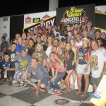 Jason Johnson with his crew, family, and friends in victory lane following his victory during the 2016 5-hour ENERGY Knoxville Nationals. (Mark Funderburk Photo)