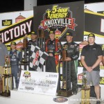 Second place Donny Schatz, winner Jason Johnson, and third place Shane Stewart at the 016 5-hour ENERGY Knoxville Nationals. (Mark Funderburk Photo)