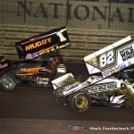Dale Blaney (#1) racing with Dusty Zomer (#82) Saturday night at Knoxville Raceway during the 5-hour ENERGY Knoxville Nationals. (Mark Funderburk Photo)