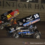 Jason Johnson (#41) racing with Donny Schatz (#15) Saturday night at Knoxville Raceway during the 5-hour ENERGY Knoxville Nationals. (Mark Funderburk Photo)