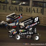 Daryn Pittman (#9) racing with Kerry Madsen (#1) Saturday night at Knoxville Raceway during the 5-hour ENERGY Knoxville Nationals. (Mark Funderburk Photo)