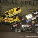 Brad Sweet (#49) racing with Chad Kemenah (#10) Saturday during the 5-hour ENERGY Knoxville Nationals at Knoxville Raceway. (Mark Funderburk Photo)
