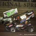 Chad Kemenah (#10H) racing with Jamie Veal (#71) Saturday night at Knoxville Raceway during the 5-hour ENERGY Knoxville Nationals. (Mark Funderburk Photo)