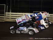 Parade lap before the feature on Friday at Knoxville Raceway with Lucas Wolfe (#1Z), Rico Abreu (#24), Brian Brown (#21), and Greg Hodnett. (#27). (Mark Funderburk Photo)
