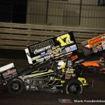 Bill Balog (#17B) racing with Tim Shaffer (#49X) Friday night at Knoxville Raceway. (Mark Funderburk Photo)