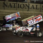Greg Hodnett (#27) racing with Lucas Wolfe (#1Z) Friday night at Knoxville Raceway. (Mark Funderburk Photo)