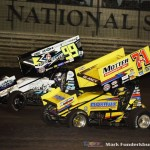 Dave Blaney (#71M) racing with Brady Bacon (#99) Friday night at Knoxville Raceway. (Mark Funderburk Photo)