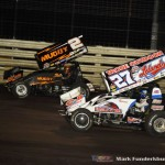 Dale Blaney (#2) racing with Greg Hodnett. (#27) Friday night at Knoxville Raceway. (Mark Funderburk Photo)