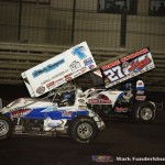 Jacob Allen (#1A) racing with Greg Hodnett (#27) Friday night at Knoxville Raceway. (Mark Funderburk Photo)