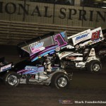 Lucas Wolfe (#1Z) racing with Stevie Smith (#51S) Friday night at Knoxville Raceway. (Mark Funderburk Photo)