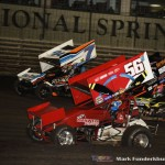 Davey Heskin (#56) racing with Dustin Selvage (#7) Friday night at Knoxville Raceway. (Mark Funderburk Photo)