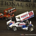 Danny Dietrich (#29) racing with Paul McMahan (#7) Friday at Knoxville Raceway. (Mark Funderburk Photo)
