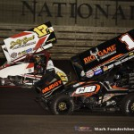 Sammy Swindell (#1) racing with Daniel Harding (#12H) Wednesday night at Knoxville Raceway. (Mark Funderburk Photo)