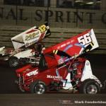 Davey Heskin (#56) racing with Shane Stewart (#2) Wednesday night at Knoxville Raceway. (Mark Funderburk Photo)