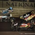 Austin McCarl (#17A) racing with Logan Schuchart (#1S) Wednesday night at Knoxville Raceway. (Mark Funderburk Photo)