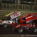 Wayne Johnson (#2) racing with Greg Hodnett (#27) Wednesday night at Knoxville Raceway. (Mark Funderburk Photo)