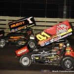 Jason Johnson (#41) racing with Dale Blaney (#1) Thursday night at Knoxville Raceway. (Mark Funderburk Photo)