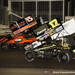 David Gravel (#5) racing with Bill Balog (#17B) Thursday at Knoxville Raceway. (Mark Funderburk Photo)
