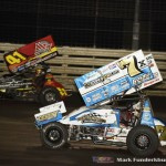 Terry McCarl (#7X) racing with Jason Johnson (#41) Thursday night at Knoxville Raceway. (Mark Funderburk Photo)