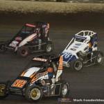 Garrett Aitken (#32) racing with Kellen Conover (#76) , and Tyler Robbins (#35)  Saturday at Federated Auto Parts Raceway at I-55. (Mark Funderburk Photo)