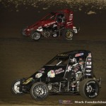 Kyle Schuette (#9K) racing with Kyle Jones (#5)  Saturday night at Federated Auto Parts Raceway at I-55. (Mark Funderburk Photo)