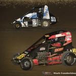 Daniel Adler (#50) racing with Nick Bailey (#89) Saturday night at Federated Auto Parts Raceway at I-55. (Mark Funderburk Photo)