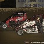 Jake Neuman (#3) racing with Zach Daum (#5D) Saturday night at Federated Auto Parts Raceway at I-55. (Mark Funderburk Photo)
