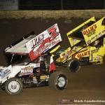 Jason Sides (#7S) racing with Brad Sweet (#49) Saturday night at Federated Auto Parts Raceway at I-55. (Mark Funderburk Photo)