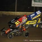 Jason Johnson (#41) racing with Jordan Goldesberry (#65)  Saturday night at Federated Auto Parts Raceway at I-55. (Mark Funderburk Photo)