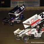 Rico Abreu (#24) racing with Shane Stewart (#2) Saturday night at Federated Auto Parts Raceway at I-55. (Mark Funderburk Photo)