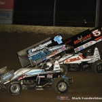 Logan Schuchart (#1S)  racing with David Gravel (#5)  Saturday night at Federated Auto Parts Raceway at I-55. (Mark Funderburk Photo)