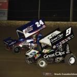 Rico Abreu (#24) racing with Daryn Pittman (#9) Saturday night at Federated Auto Parts Raceway at I-55. (Mark Funderburk Photo)