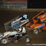 Logan Schuchart (#1S) racing with Brad Loyet (#05) Saturday night at Federated Auto Parts Raceway at I-55. (Mark Funderburk Photo)