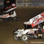 David Gravel (#5) racing with Jason Sides (#7S) Saturday night at Federated Auto Parts Raceway at I-55. (Mark Funderburk Photo)