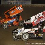 Brad Loyet (#05) racing with Jason Sides (#7S) Saturday night at Federated Auto Parts Raceway at I-55. (Mark Funderburk Photo)
