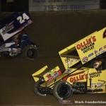 Rico Abreu (#24) racing with Brad Sweet (#49) Saturday night at Federated Auto Parts Raceway at I-55. (Mark Funderburk Photo)