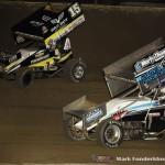 Donny Schatz (#15) racing with Logan Schuchart (#1S) Saturday night at Federated Auto Parts Raceway at I-55. (Mark Funderburk Photo)