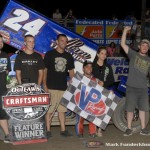 Rico Abreu with his team in victory lane following his victory with the World of Outlaws Craftsman Sprint Car Series at  the Ironman 55 at Federated Auto Parts Raceway at I-55. (Mark Funderburk Photo)