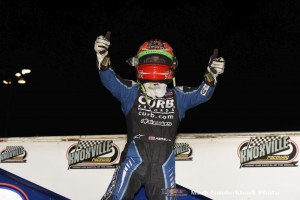 Rico Abreu after winning Friday night's feature event at Knoxville Raceway. (Mark Funderburk Photo)