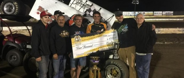 Trey Starks with the Rutz team in victory lane after winning the Gold Cup at Castrol Raceway. (Image courtesy of ILP)