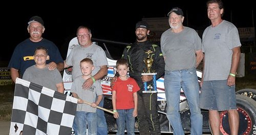 Thomas Meseraull with Jack Hewitt following his victory in the Jack Hewitt Classic on Saturday at Waynesfield Raceway Park. (Mike Campbell Photo)