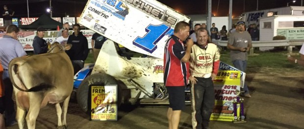 Paul Weaver in victory lane following his victory during the Sandusky County Fair at Fremont Speedway. (Todd Smith Photo)