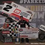 Shane Stewart in victory lane following his win Friday night at Eldora Speedway. (Bill Miller Photo)