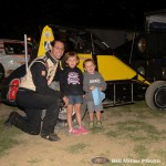 Shane Hollingsworth with hi two biggest fans at the Montpelier Motor Speedway. (Bill Miller Photo)